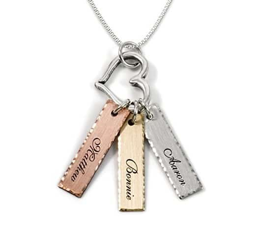 Triple Bar Personalized Necklace with Heart Charm #jewelrygifts