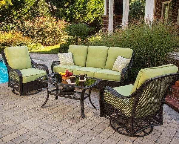 4-Piece Outdoor Lounging Set with Sofa, 2 Swivel Chairs and Coffee Table