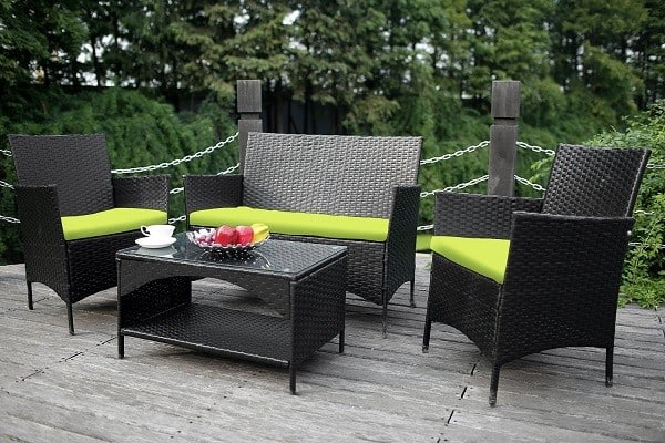 4-piece Outdoor Wicker Sofa and Chairs Set - Rattan Patio Garden Furniture Set with Lime Green Cushions