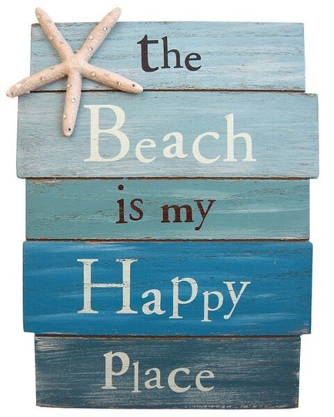Beach Plank Board Sign in ocean blue colors with starfish - Beautiful beach wall decor for bathroom or living room!