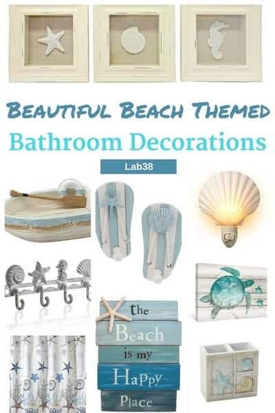 Beach Themed Bathroom Decorations - Decorate your bathroom with these nautical bathroom decorations #beachdecor