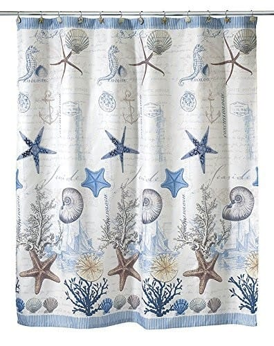 Beach Themed Shower Curtain by Avanti featuring seashells and starfish.