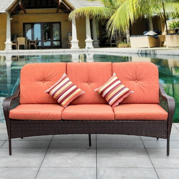 Outdoor Deluxe Patio Sofa 3 Seater - Comfortable Patio Sofa with Padded Cushions and Throw Pillows