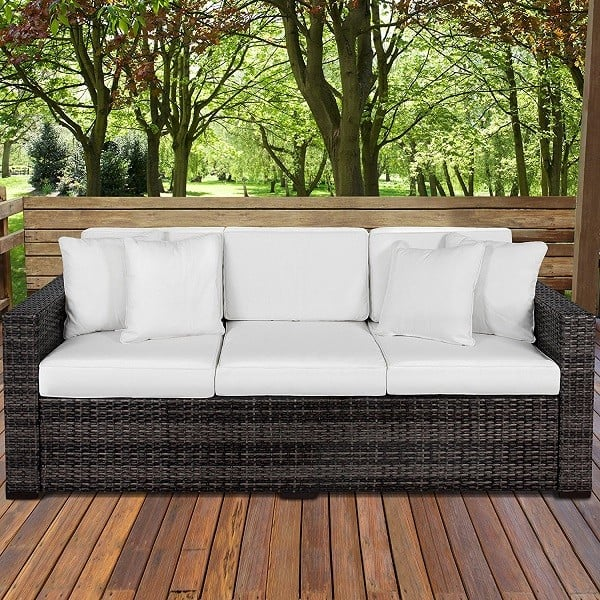 Outdoor Wicker Patio Furniture 3 Seater Sofa - Best Outdoor Patio Sofas