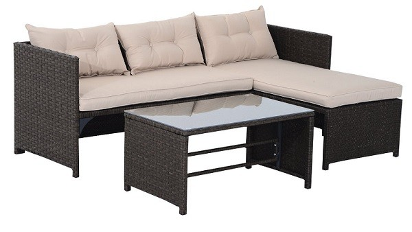 Three Piece Outdoor Rattan Wicker Sofa and Chaise Longue Set